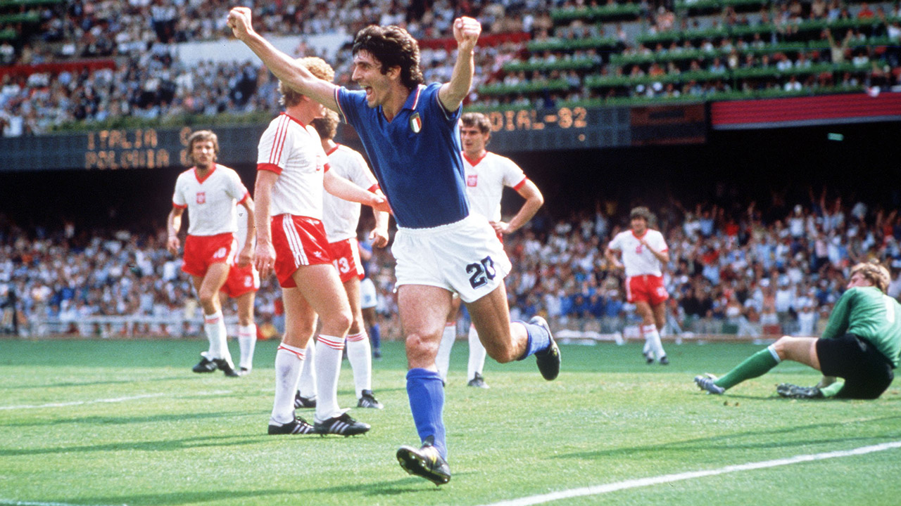 1982 World Cup Finals. Semi-Final. Barcelona, Spain. 8th July, 1982. Italy 2 v Poland 0. Italy's Paolo Rossi celebrates after scoring the opening goal against Poland.
